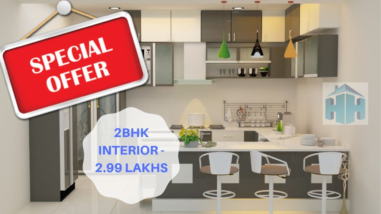 2bhk flat interior design and decoration 2.99 lakhs in Hyderabad Telangana