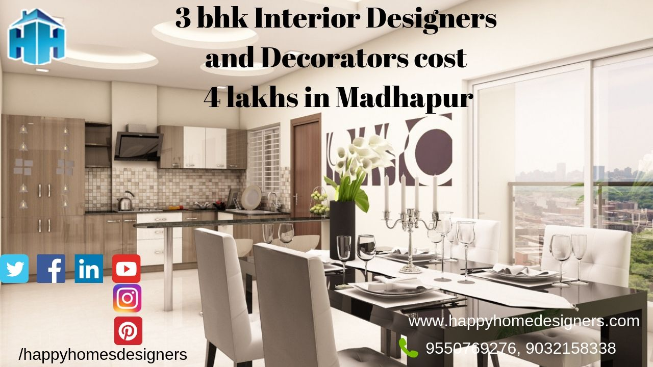 3 bhk Interior Designers and Decorators cost 4 lakhs in Madhapur hyderabad