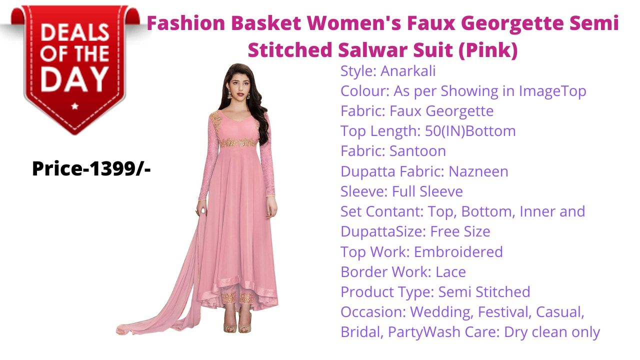 Fashion Basket Womens Faux Georgette Semi Stitched Salwar Suit Pink