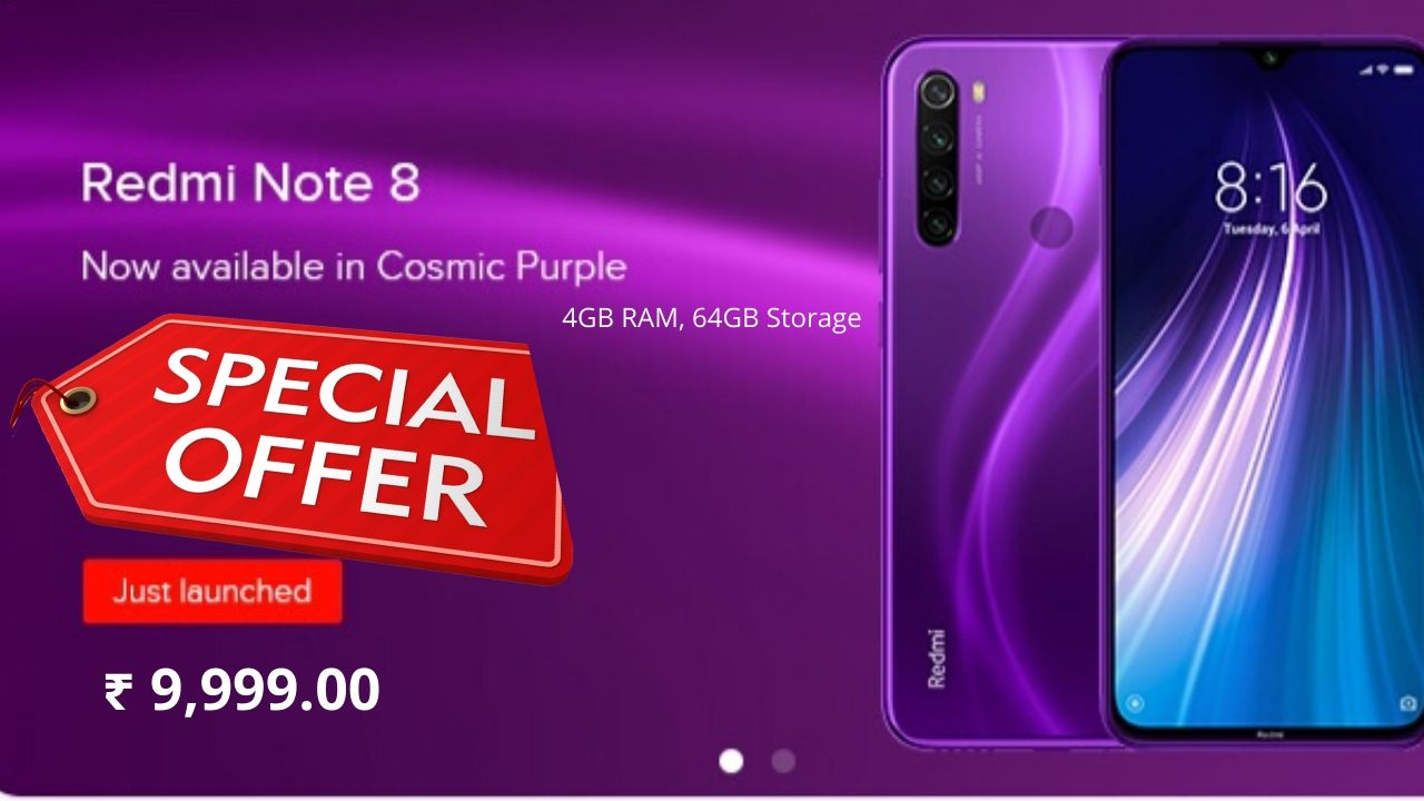 Redmi Note 8 Cosmic Purple 4 gb Ram 64 gb Storage