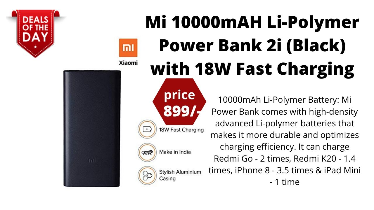 Mi 10000mAH Li-Polymer Power Bank 2i (Black) with 18W Fast Charging