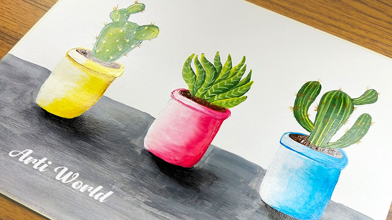 Easy Satisfying Cactus Painting in three pots